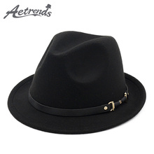 [AETRENDS] 2017 England Style Fedora Jazz Hat Men Vintage Wool Felt Winter Hat Panama Cap Z-5953()