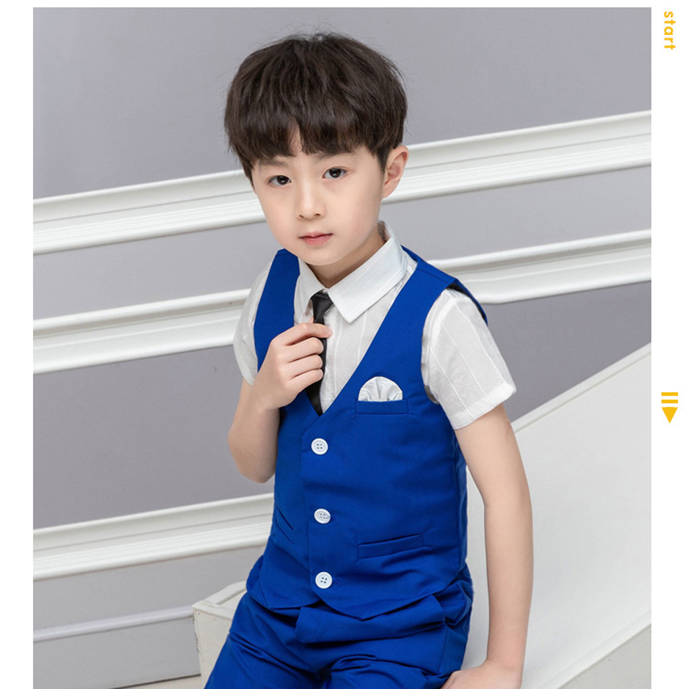 2019 Summer Boys Weddings Blazer Suit Kids Cotton Blouse+Vest+Pants+Tie 4 pieces/set Clothes Sets Boys Formal Outfits for Party