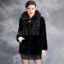 Clobee Women faux fur Coats 2017 Elegant Faux Mink Coat Women Fluffy Warm Long Sleeve Female Outerwear Winter Hood Coat M579