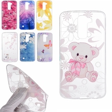 Cute Bear Rose Sunflower Design Soft TPU Cover sFor LG K7 / K8 Lte K350 / K10 LTE K420N Case Fashion Transparent Cell Phone Bags