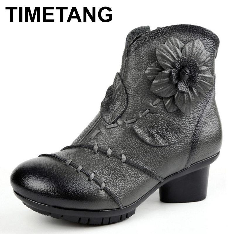TIMETANG  Fashion Women Autumn Winter Genuine Leather Boots Handmade Plush Ankle Boots High heels Shoes For Ladies botas C308<br>