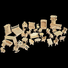 Wooden 3D Jigsaw Puzzle DIY Miniature Furnitures Models Set Accessories Kit