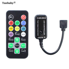 Tanbaby Mini 20Key IR Infrared Led Controller Black DC12V 6A  RGB Control With Remote For 5050 3528 RGB Strip Ribbon Tape