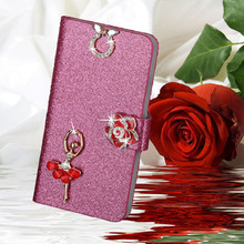 Luxury Glitter Diamond PU Wallet Leather Case For OPPO X907 Finder Cover For OPPO X907 Flip Buckle Stand Card Holder(China)