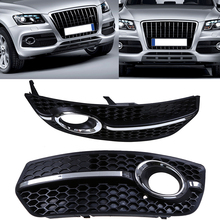 1 Pair Car Front Racing Grill Grille Fog Lights Covers Fit For Audi Q5 Right&Left Auto Replacement Paint Black Lower Grills