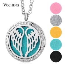 30mm Wings Aromatherapy Locket 316L Stainless Steel Necklace Pendant Crystal Magnetic Random Send 5pcs Felt Pads as Gift VA-277(China)