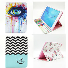 BF 2016 Hot Sale Stand PU Leather Case For Samsung Galaxy Tab A 9.7 inch SM T550 t555c T555 Beautiful Painted tablet Shell Cover