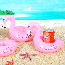 Hot Sale Mini Baby Inflatable Flamingo Drink Cup Can Holder Pool Floats Summer Swimming Party Ring Adults Kids Fun Water Toys(China)
