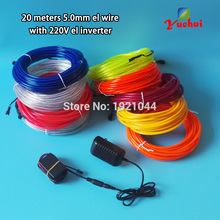 10 Colors Choice 20Meters 5.0mm LED Glowing wire EL Wire LED Thread Neon Light Rope Powered By 220V For House Party Decoration(China)
