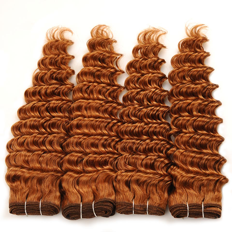 Pinshair Pre-Colored Deep Wave Malaysian Human Hair Weave 4 Bundles Brown 30 Deep Wave Non-Remy Hair Weaving Extension 400g/Pack