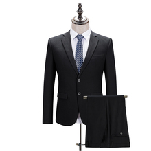 (Jackets+Pants) Black Solid Color Working Suit Business Suits Formal Wear Men's Suits High Quality Blazer Classic Suit Gent Life