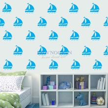 25pcs/set 9x9cm Sailling boat Wall Decal Wall Sticker Cartoon Marine style DIY Decoration Wall Art Stickers for Kids Rooms N803(China)
