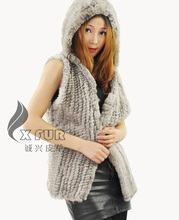 Free Shipping CX-G-B-98A Jackets For Women Casual Wear Hoodie Knitted Rabbit Fur Vest(China)