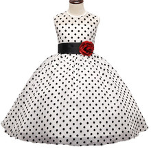 Girl Pageant Dress 2017 Princess Black Polka Dot Print Flower Wedding Gown Children Ceremonies Dresses Teenage Girl Clothing 10T(China)