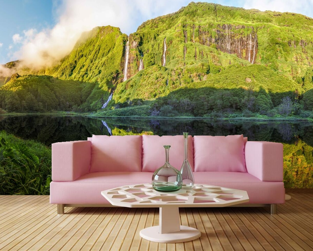 Custom 3d mural, Mountains Lake Waterfalls Nature wallpapers,bar living room tv wall kitchen bedroom restaurant 3d wallpaper<br>