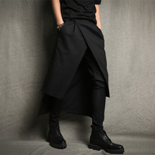 2016 new men's casual pants male fashion black slim harem pant stage show rock skirt trousers