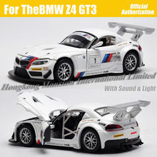 1:32 Scale Diecast Alloy Metal Racing Car Model For TheBMW Z4 GT3 Collection Model Pull Back Toys Car With Sound&Light - White(China)