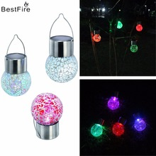Bestfire LED solar lights outdoor landscape lights colorful ball crack LED glass ball Street garden decorative lamp(China)