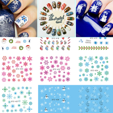 1Sheet Christmas Snow Flower Nail Art Water Transfer Nail Stickers Decal Full Cover Tips Christmas Xmas Gift SASTZ415-439