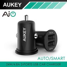 AUKEY Mini 4.8A Dual Port USB Car Charger Universal Fast Smart Car-Charger Apple iPhone 7 LG Samsung Xiaomi &More Cell Phone