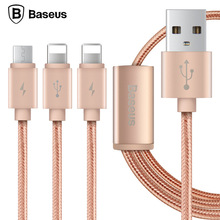 Baseus Portman Series 3 in 1 Charge Cable 1.2M Type-C Data Transfer Quick Charging Nylon Braided Cord for IPHONE SAMSUNG HTC