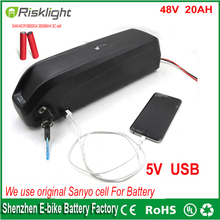 electric bike battery 48v 20ah 1000W ebike battery for 48v 1000w 750w bafang 8fun motor  with USB port +Charger For Sanyo cell
