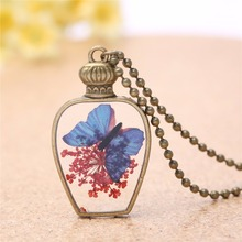 Vintage Handmade Women Bottle Glass Pendant Necklace Dry Flower Butterfly Charms Chain Necklace Fashion Jewelry 3577(China)