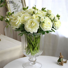 YO CHO 11 pcs/lot artificial peony bouquet flores artificiales rose flower silk flowers for home wedding autumn decoration(China)