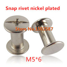 100 Pieces/lot M5*6 Album Picture Book Screw Male-Female Snap Rivets Nickel Plated