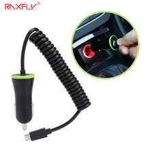 RAXFLY Mini USB Car Charger Micro USB Cable Spring Shape For Cellphone Tablet PC BPG Safety Charging For Android Mobile Phone