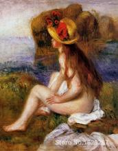 discount canvas paintings art by Pierre Auguste Renoir Nude in a Straw Hat Hand painted High quality(China)