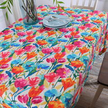 Rectangular Art Dining Table Cover Ink style tulip Tablecloths Stylish Thick Cotton Linen Floral Table Cloth Custom Made