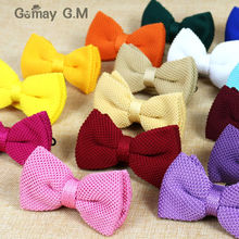 New Men Solid Knitted Bowtie Bow Tie for Mens Pre-Tied Adjustable Knit Bowtie 20 colors Free shipping(China)