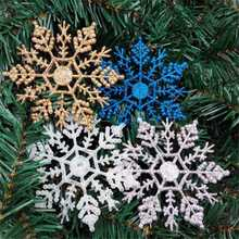 10cm 12pcs Snowflakes Christmas Tree Decoration Ornaments Plastic Glitter Xmas Hanging Ornaments For Home Party Christmas Decor(China)
