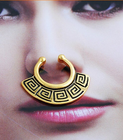 2015 Sale Ear Plugs 12 Pcs/lot Non-piercing Fake Nose Ring Clip On Piercing Rings Stud Punk Goth False Septum For Clicker Steel