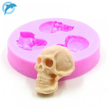 LINSBAYWU DIY Skeleton Head Skull Silicone Mold Styling Candy Jelly Mould Fondant Cake Decorating Pastry Baking Tools
