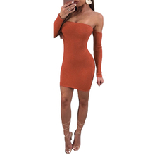 YJSFG HOUSE Women Ladies Slash Neck Dress Bandage Bodycon Off Shoulder Evening Short Dress Knitted Party Sexy Long Sleeve Autumn(China)