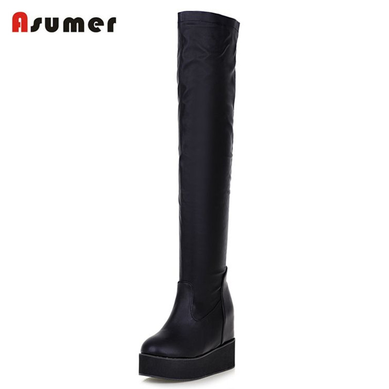 Asumer new arrival women shoes solid black elegant  over the knee high boots round toe high heels platform winter boots<br>