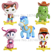 New Sheriff Callie's Wild PVC Figure Toy 5pcs Set Sheriff Callie Cat Deputy Peck Toby Priscilla Skunk Horse Sparky Toys Gifts
