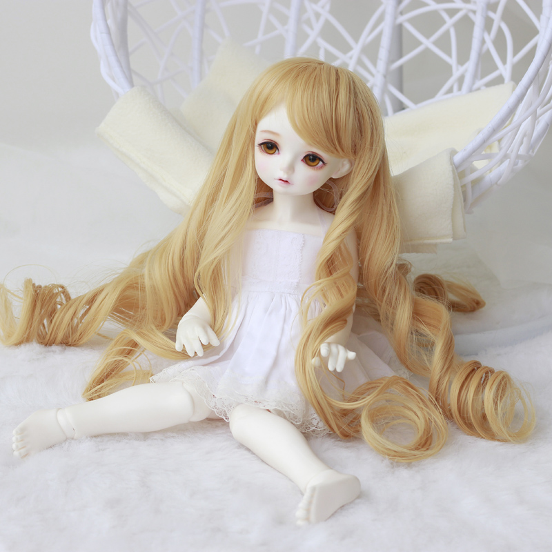 Topcosplay 1/3 1/4 1/6 BJD MSD DOD Pullip Dollfie Doll Long Blonde Curly Toy Wig Not for Human 043<br><br>Aliexpress