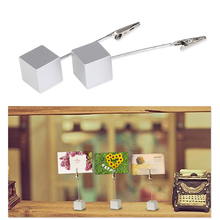 10pcs Cube Base Memo Photo Holder Card Paper Note Clip standing place card holder,for Paper Decoration Photo Free shipping(China)