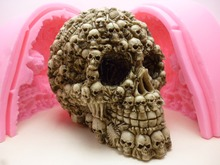 3D Super Skull fondant cake mold silicone mold chocolate mold soap soap candles tool free shipping