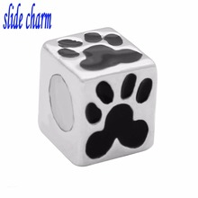 slide charm Free shipping black bear footprints animal beads fit Pandora charm bracelet mother lover Christmas gift(China)