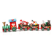 New arrival wholesale 4 Pieces Cartoon Wood Christmas Xmas Train Decorations for Home Kids Boys Girl Decoration Decor Gift(China)