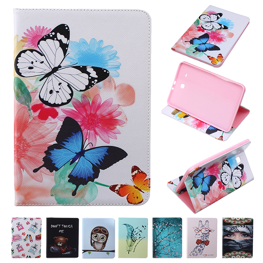For Samsung Galaxy Tab E 9.6 T560 T561 PU Leather Painting Case Tablet Smart Stand Cover Ultra Slim with Card Holder Wallet Bag <br><br>Aliexpress