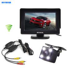 DIYSECUR 4.3 Inch Video Car Monitor + HD LED Car Camera Rear View Security System Wireless Parking Reversing System Kit(China)
