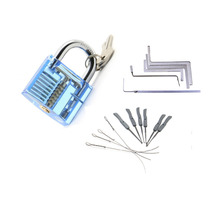 Locksmith Tools Kit 3 In 1 Set Blue Transparent Lock ,5pcs Locksmith Wrench Tools,10pcs Locksmith Broken Key Extractor Tools