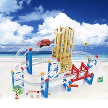 Kids electric train toys electric light rail car railway toy with lift double railroad track train sets children gifts(China)