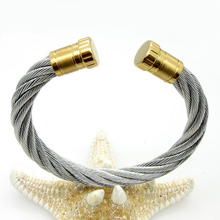 2017 NEW Arrival Good 2 style fashion roll stick cuff bangle silver/gold color jewelry stainless steel Bracelet B23(China)
