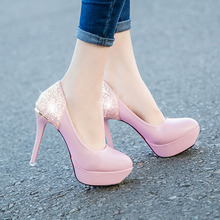 Ladies High Heel Shoes Woman Pumps sexy platform style SuperStar women work party bling shoes pink black white